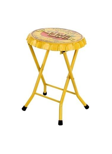 Vitale Vıntage Apple Jack Sarı Metal Tabure Sarı